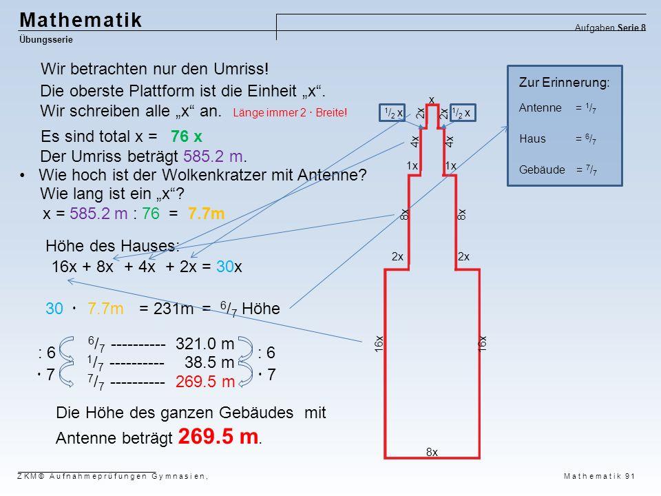 Mathematik Wir betrachten nur den Umriss!