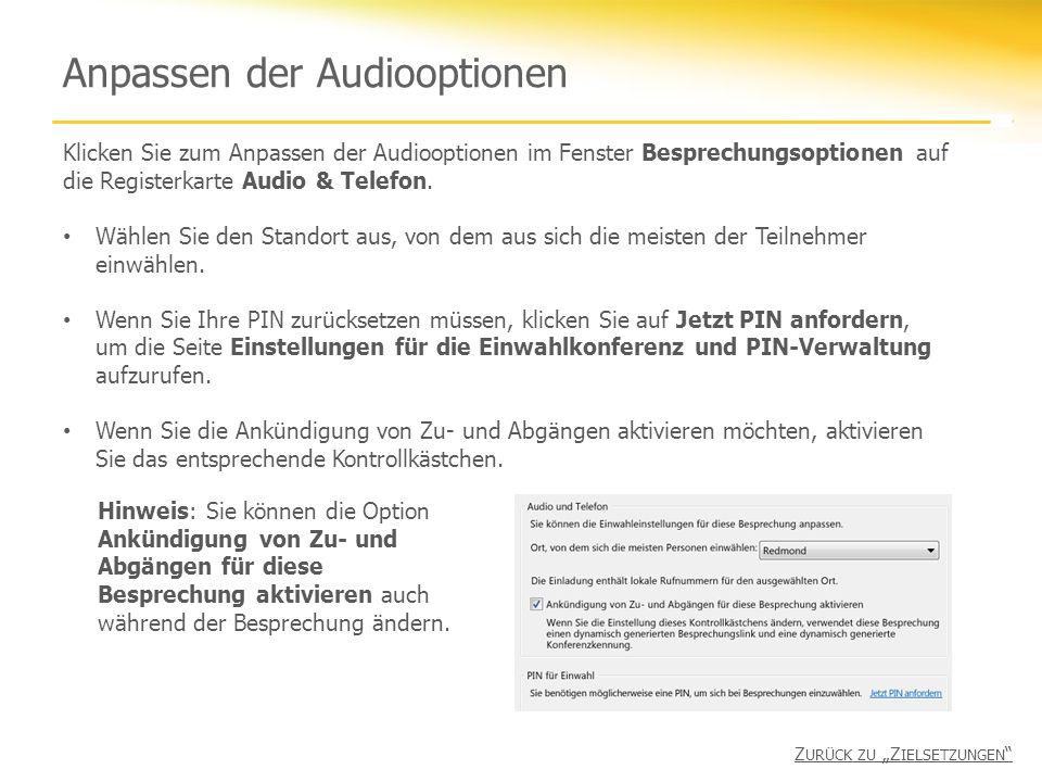 Anpassen der Audiooptionen