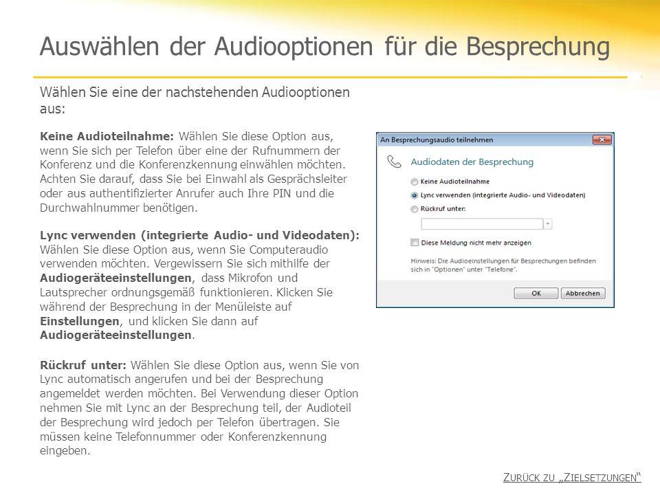 Auswählen der Audiooptionen für die Besprechung