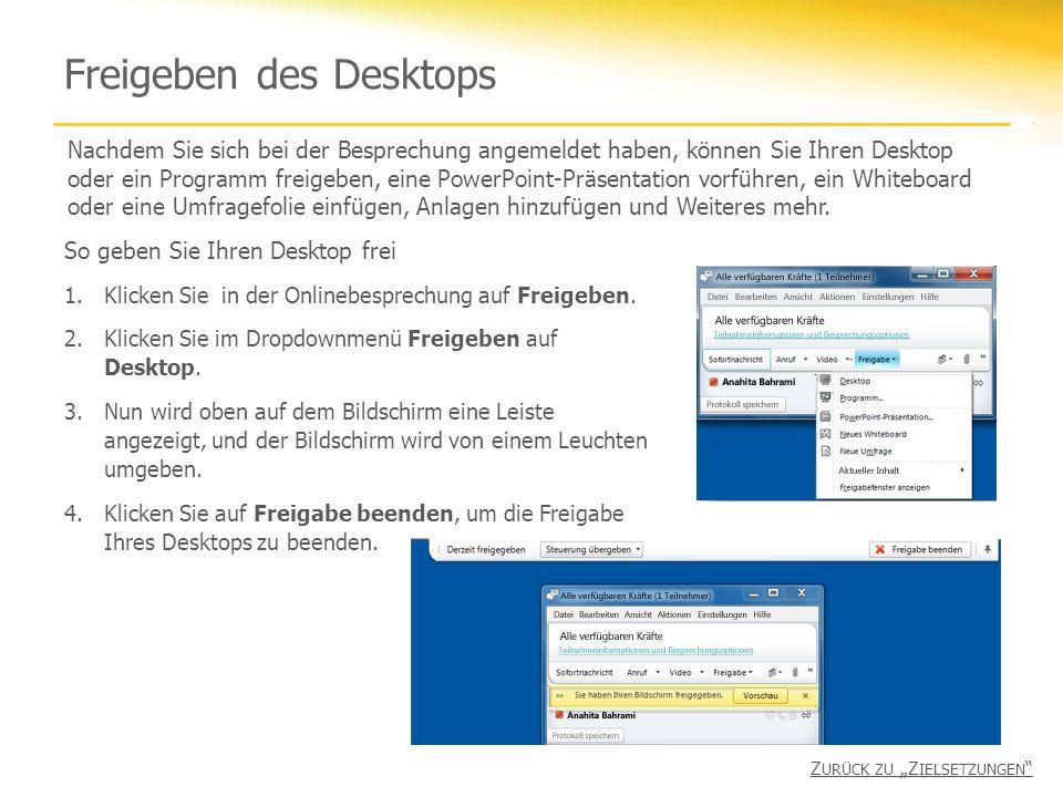 Freigeben des Desktops