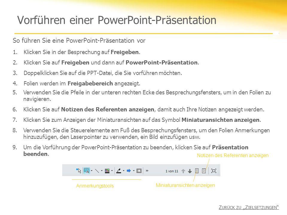 Vorführen einer PowerPoint-Präsentation