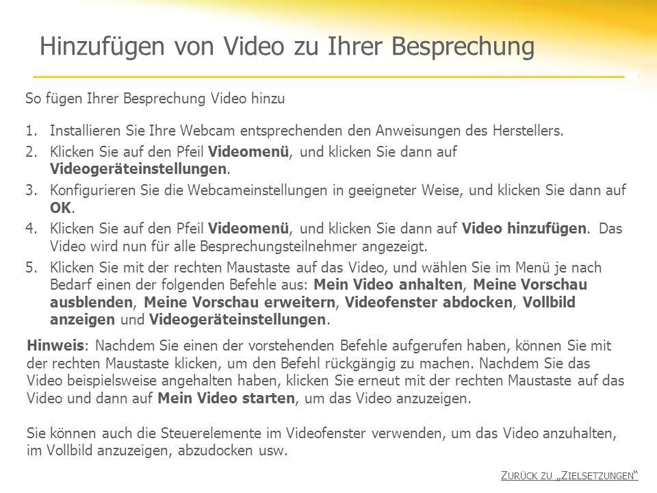 Hinzufügen von Video zu Ihrer Besprechung