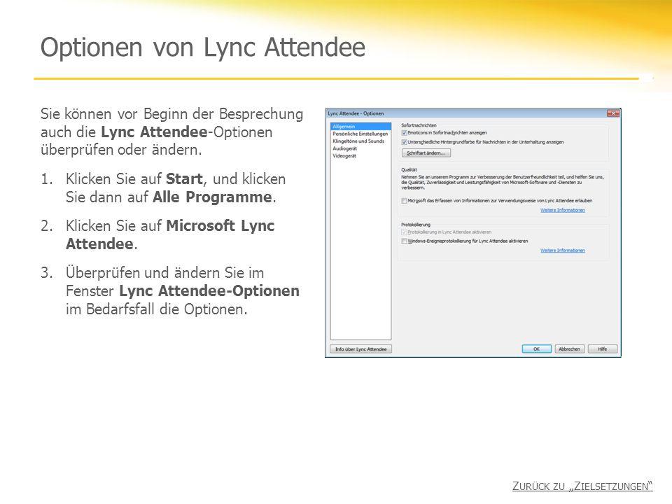 Optionen von Lync Attendee