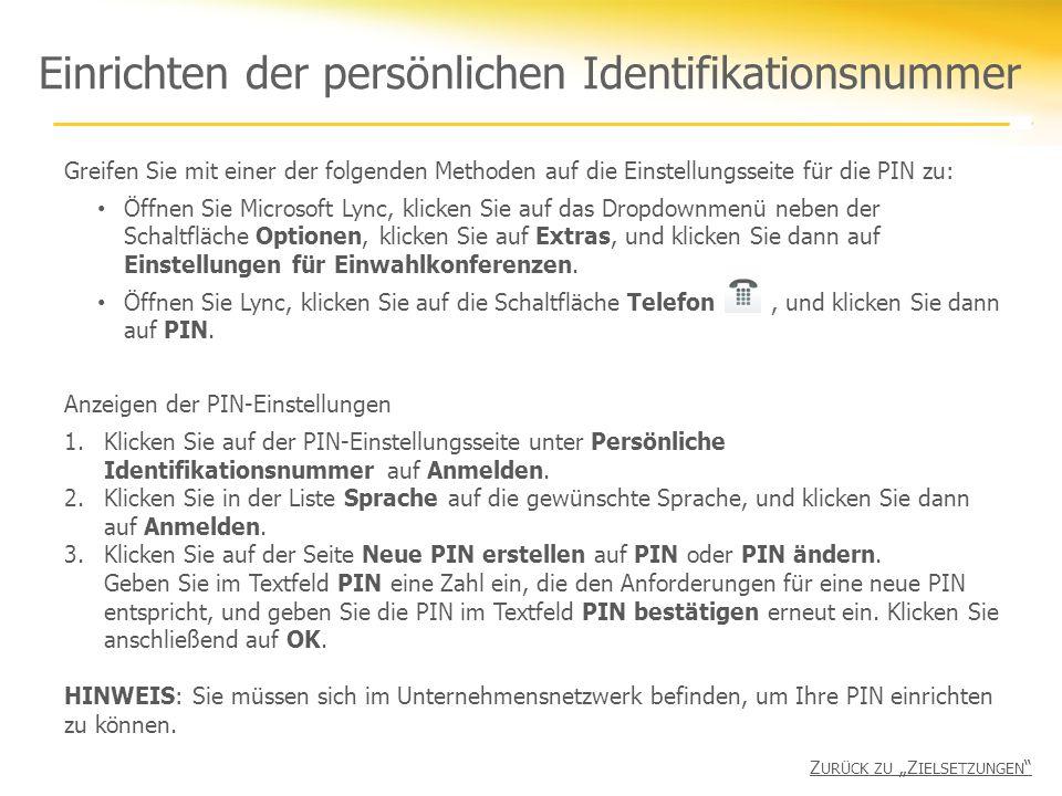 Einrichten der persönlichen Identifikationsnummer