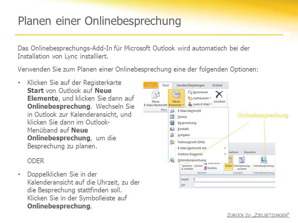 Planen einer Onlinebesprechung