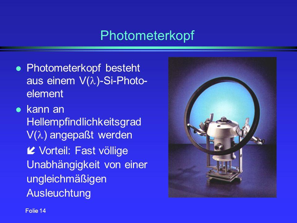 Photometerkopf Photometerkopf besteht aus einem V()-Si-Photo-element