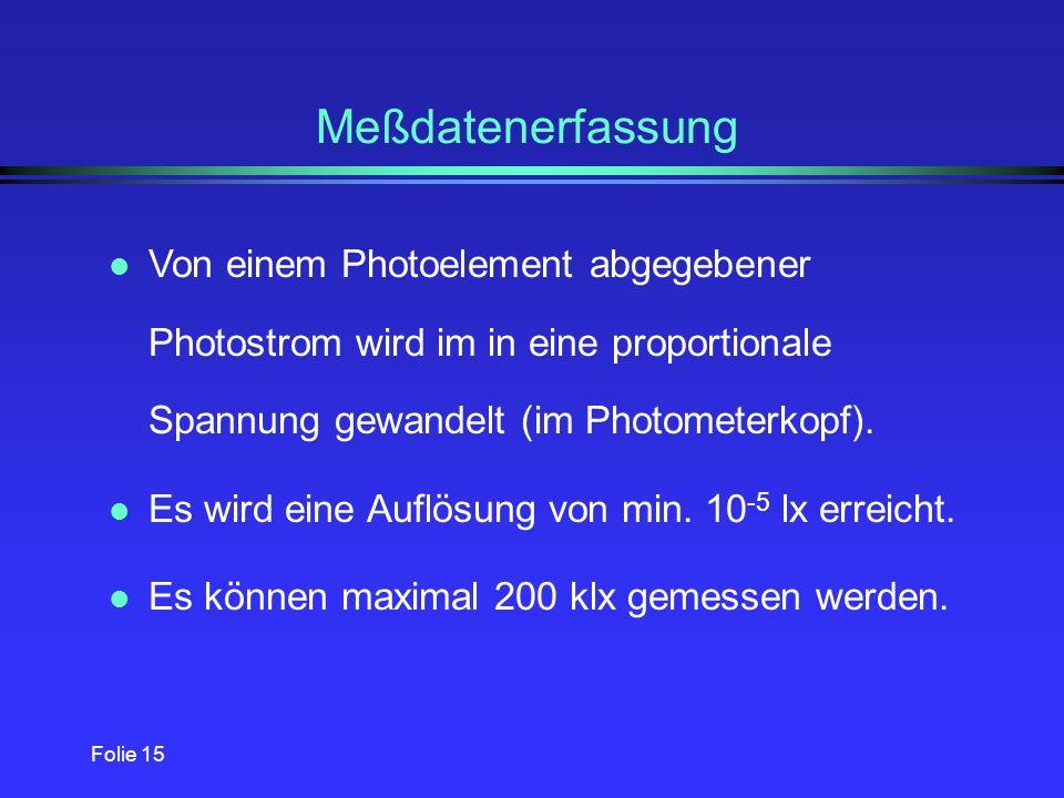Meßdatenerfassung Von einem Photoelement abgegebener Photostrom wird im in eine proportionale Spannung gewandelt (im Photometerkopf).
