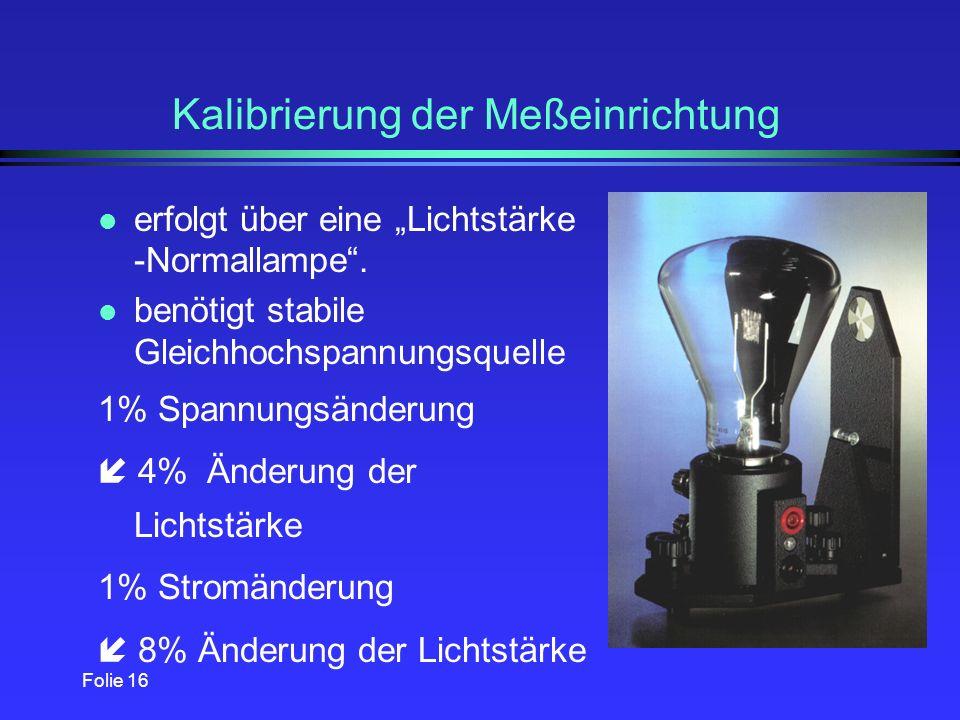 Kalibrierung der Meßeinrichtung