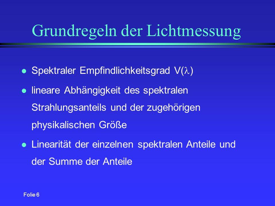 Grundregeln der Lichtmessung