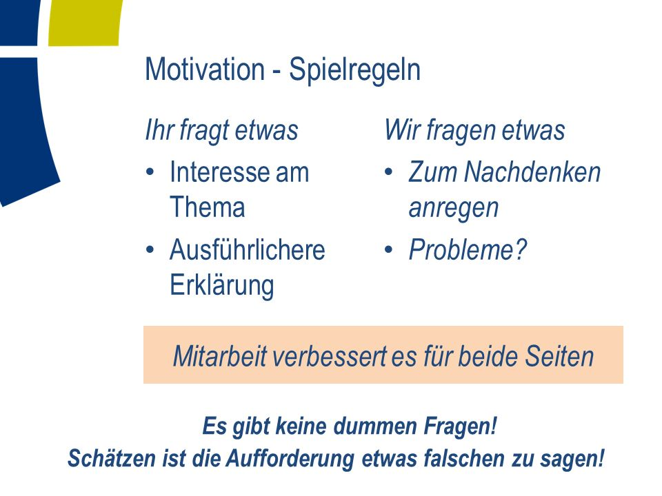 Motivation - Spielregeln