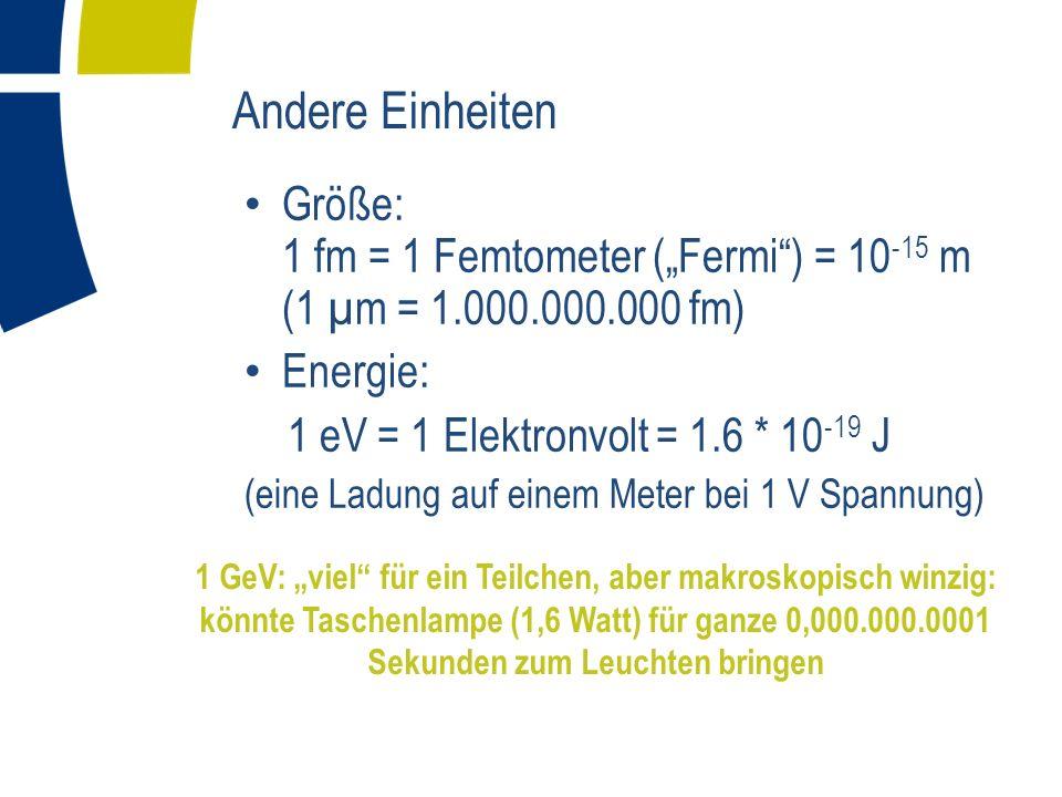 """Andere Einheiten Größe: 1 fm = 1 Femtometer (""""Fermi ) = 10-15 m (1 µm = 1.000.000.000 fm) Energie:"""