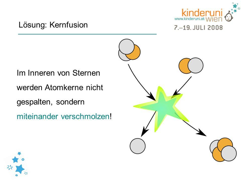 Lösung: Kernfusion Im Inneren von Sternen. werden Atomkerne nicht.