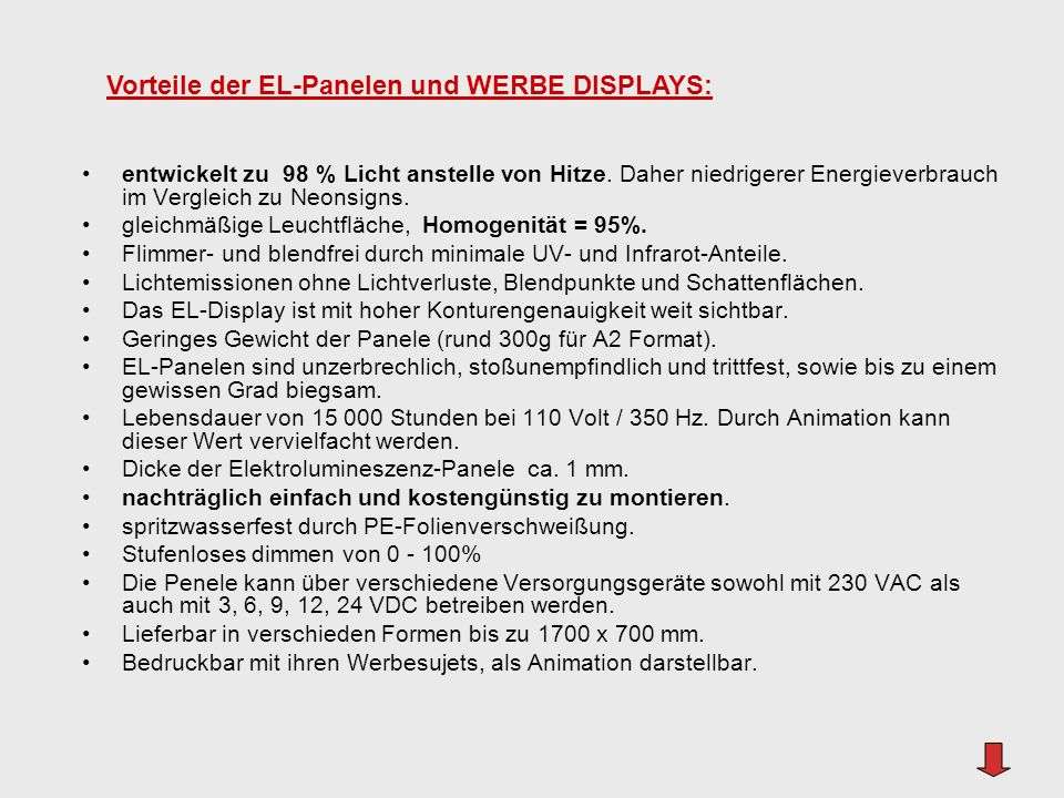 Vorteile der EL-Panelen und WERBE DISPLAYS: