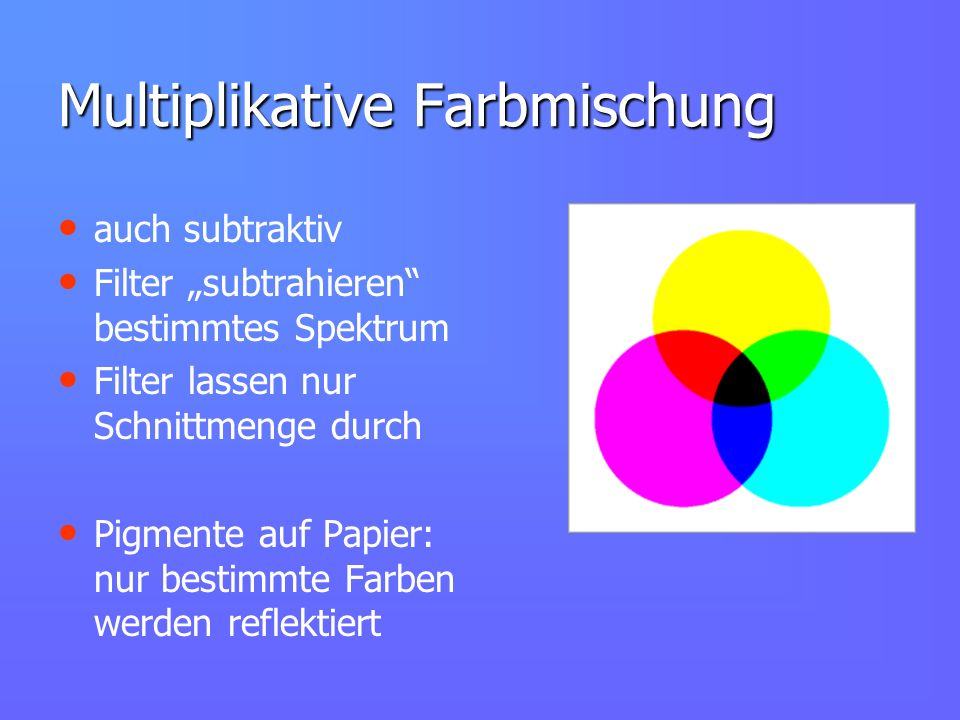Multiplikative Farbmischung