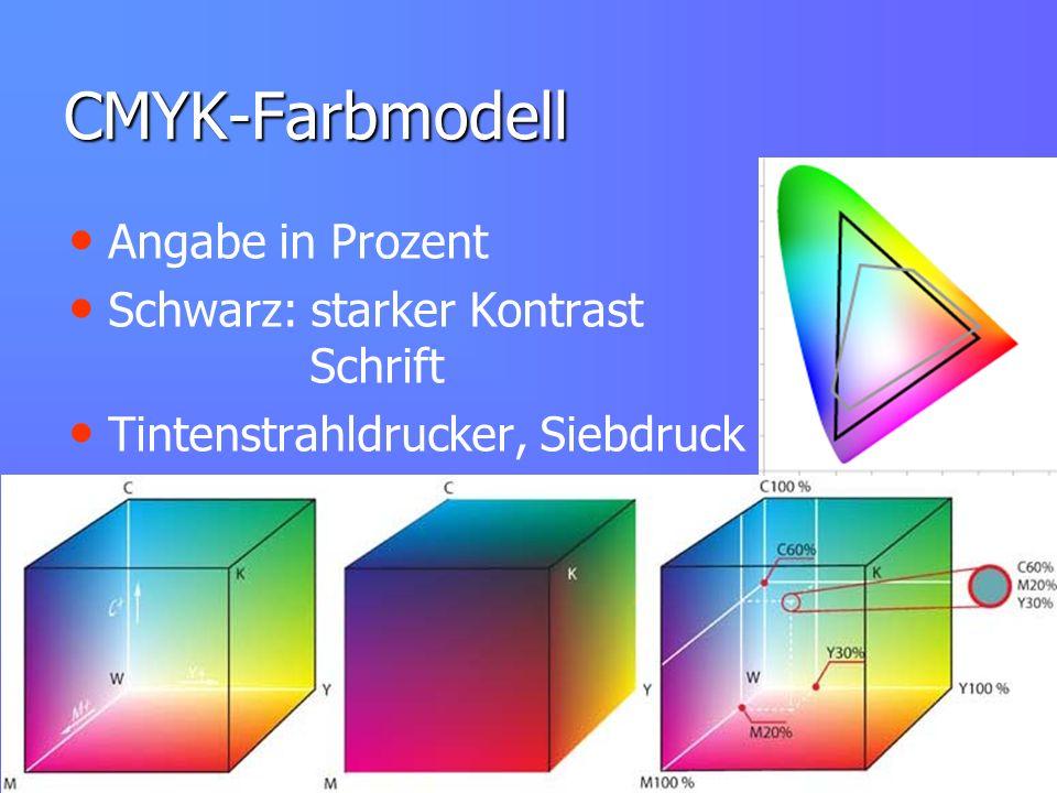 CMYK-Farbmodell Angabe in Prozent Schwarz: starker Kontrast Schrift
