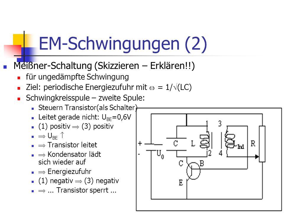 EM-Schwingungen (2) Meißner-Schaltung (Skizzieren – Erklären!!)