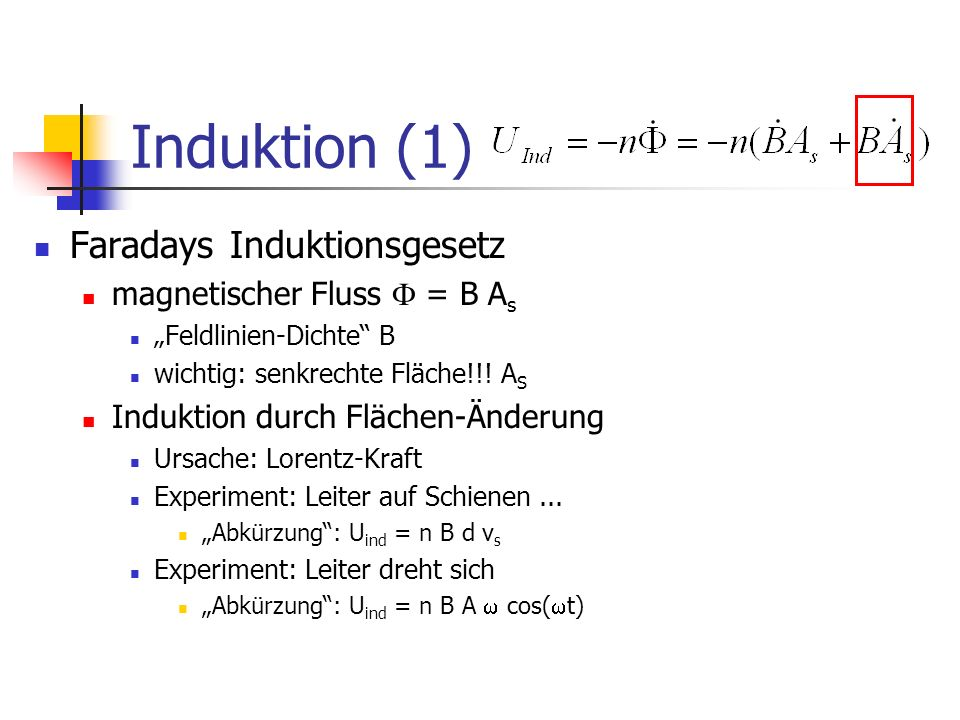 Induktion (1) Faradays Induktionsgesetz magnetischer Fluss  = B As