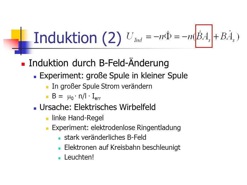 Induktion (2) Induktion durch B-Feld-Änderung
