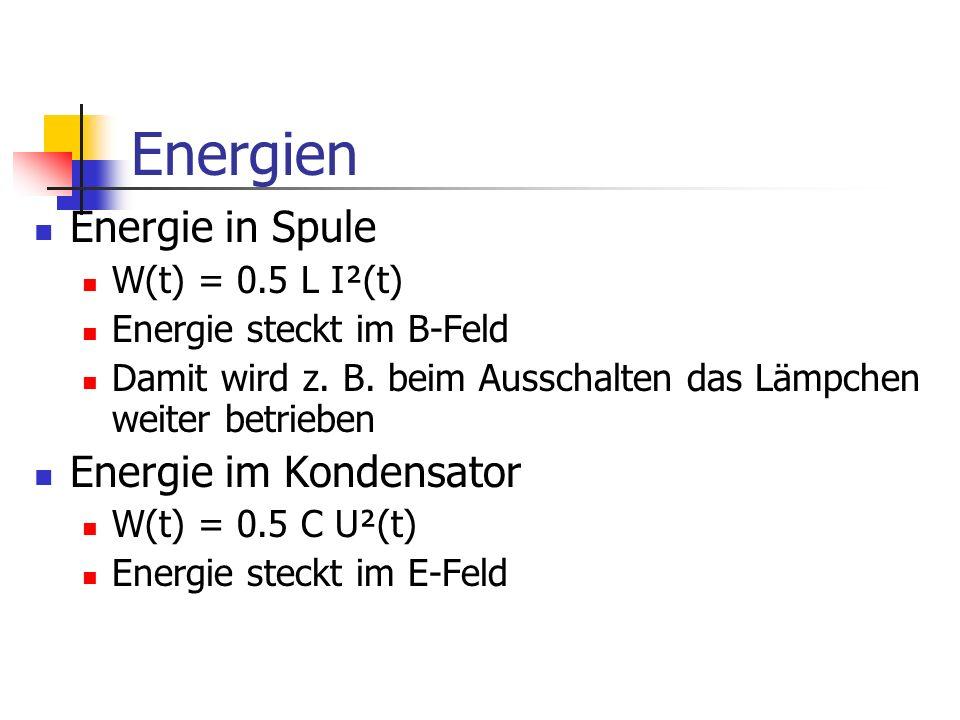 Energien Energie in Spule Energie im Kondensator W(t) = 0.5 L I²(t)
