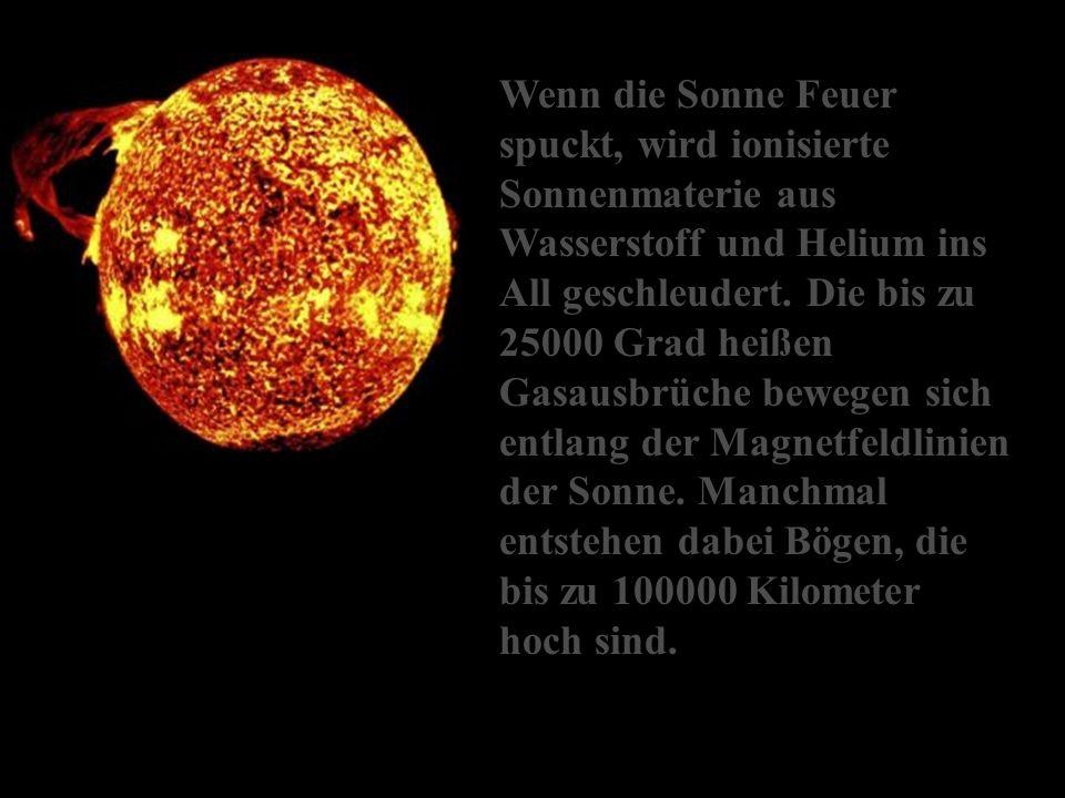 Wenn die Sonne Feuer spuckt, wird ionisierte Sonnenmaterie aus Wasserstoff und Helium ins All geschleudert.