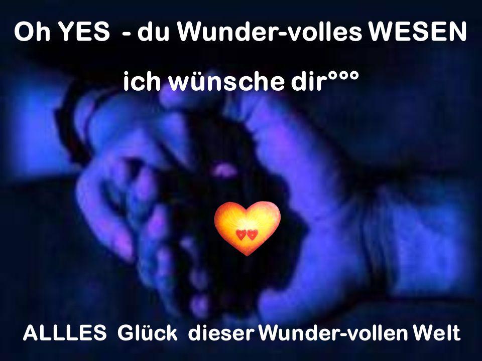 Oh YES - du Wunder-volles WESEN ALLLES Glück dieser Wunder-vollen Welt