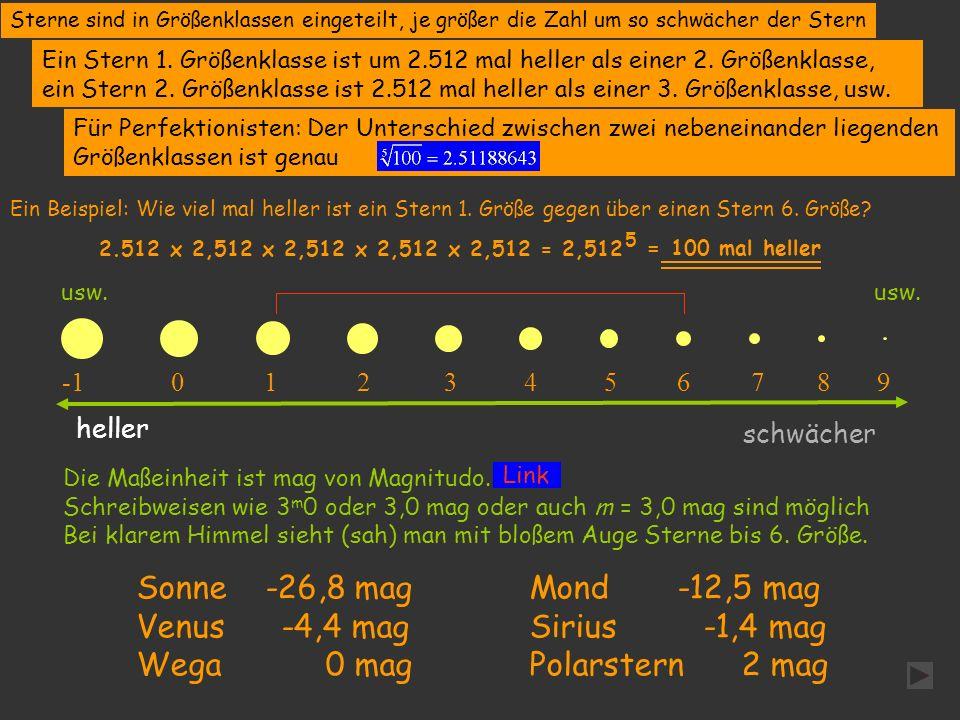 Wega 0 mag Polarstern 2 mag