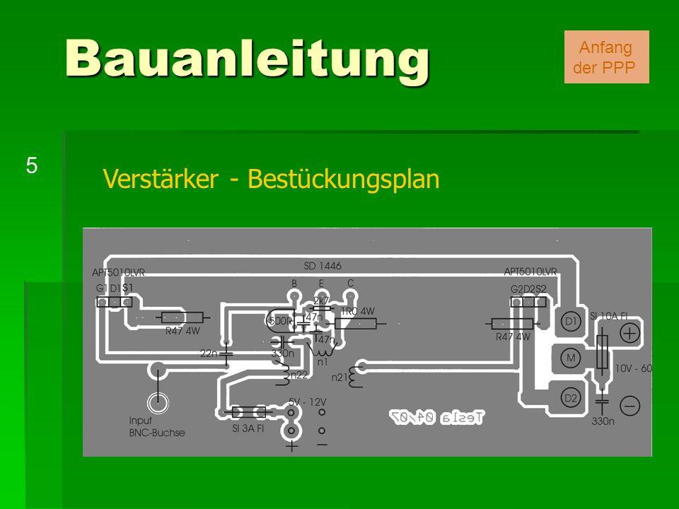 Bauanleitung Anfang der PPP 5 Verstärker - Bestückungsplan