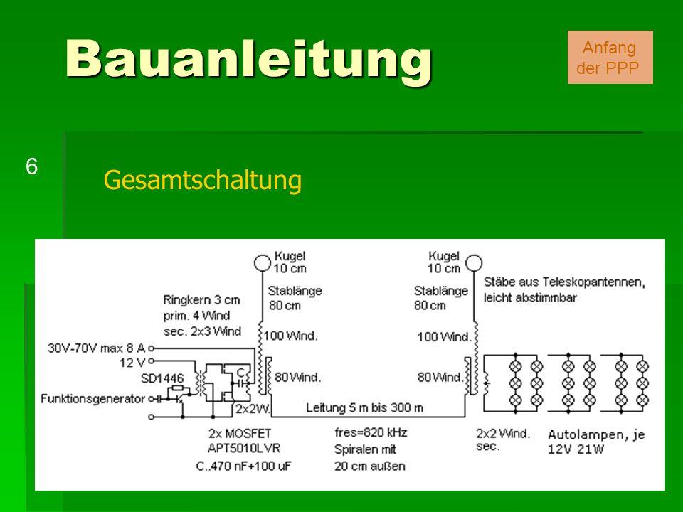 Bauanleitung Anfang der PPP 6 Gesamtschaltung