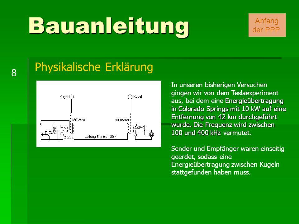 Bauanleitung Physikalische Erklärung 8 Anfang der PPP