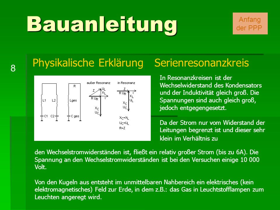 Bauanleitung Physikalische Erklärung Serienresonanzkreis 8 Anfang