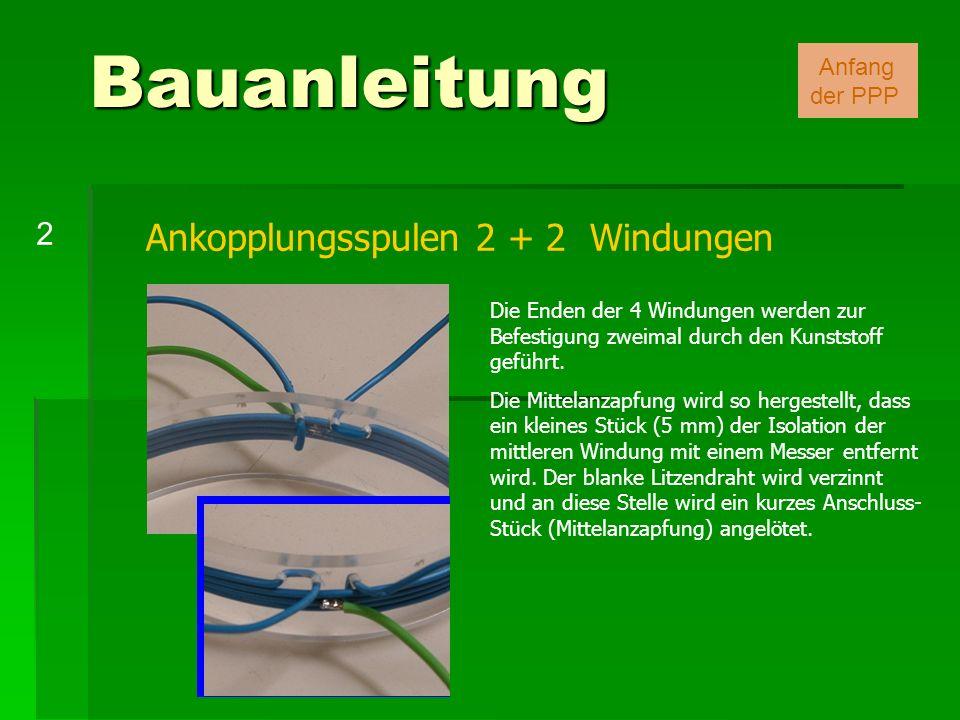 Bauanleitung Ankopplungsspulen 2 + 2 Windungen 2 Anfang der PPP