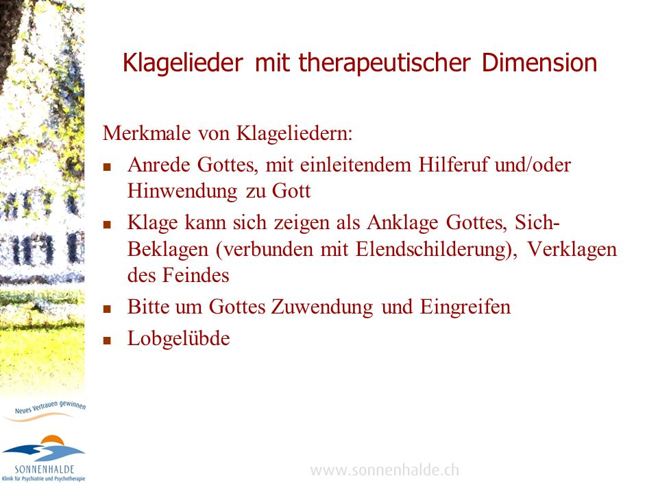 Klagelieder mit therapeutischer Dimension