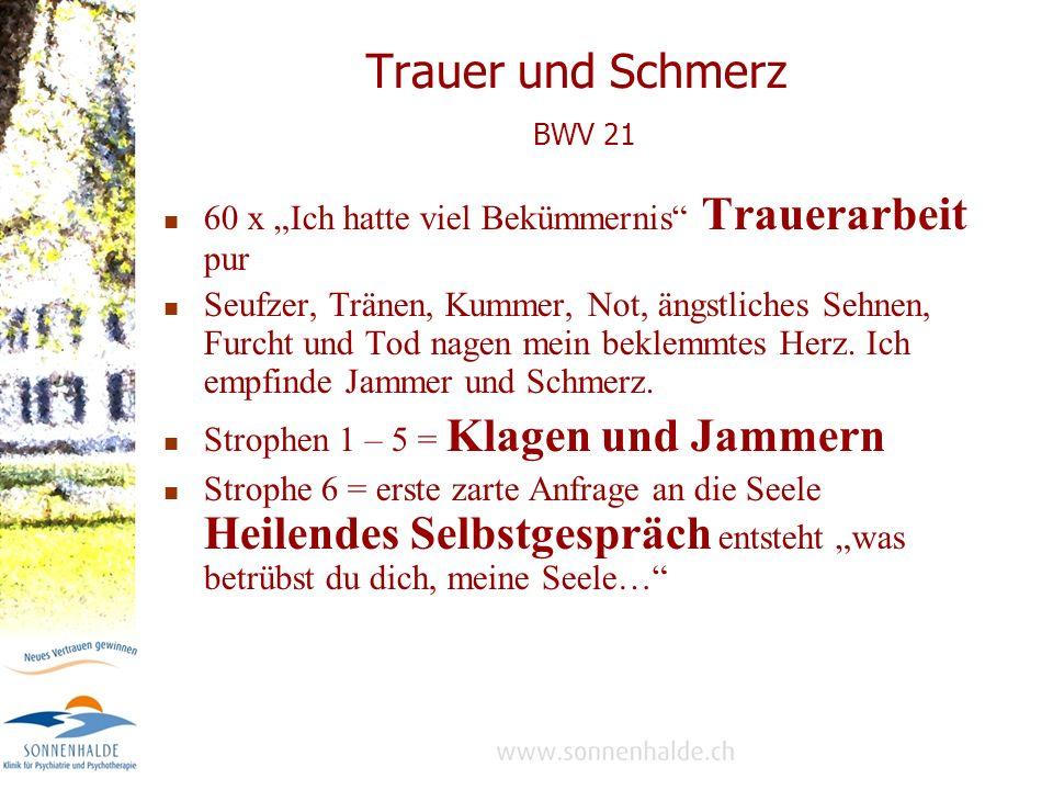 """Trauer und Schmerz BWV 21 60 x """"Ich hatte viel Bekümmernis Trauerarbeit pur."""