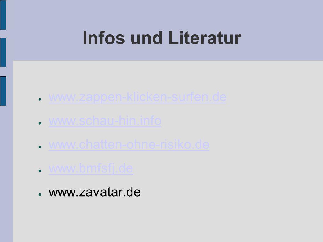Infos und Literatur www.zappen-klicken-surfen.de www.schau-hin.info