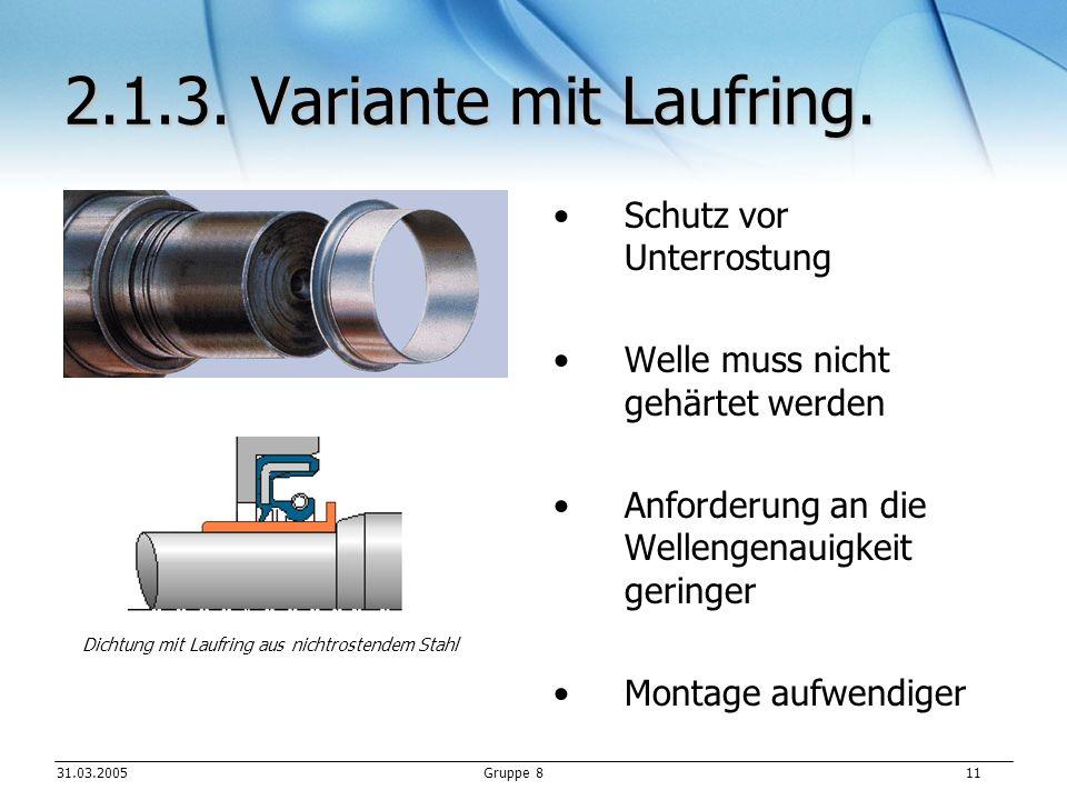 2.1.3. Variante mit Laufring. Schutz vor Unterrostung