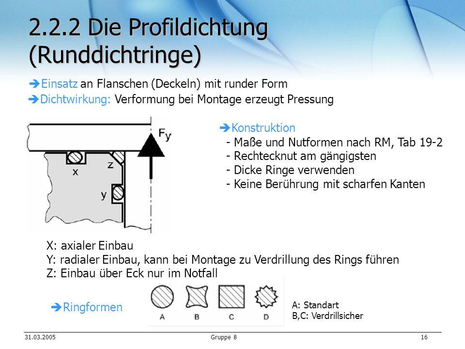 2.2.2 Die Profildichtung (Runddichtringe)
