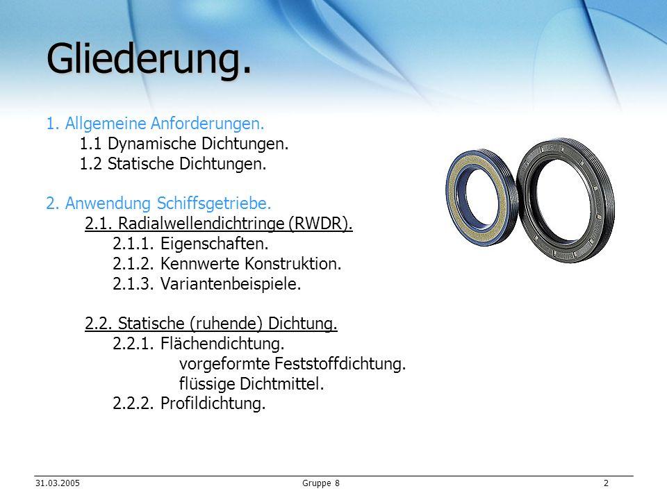 Gliederung. 1. Allgemeine Anforderungen. 1.1 Dynamische Dichtungen.