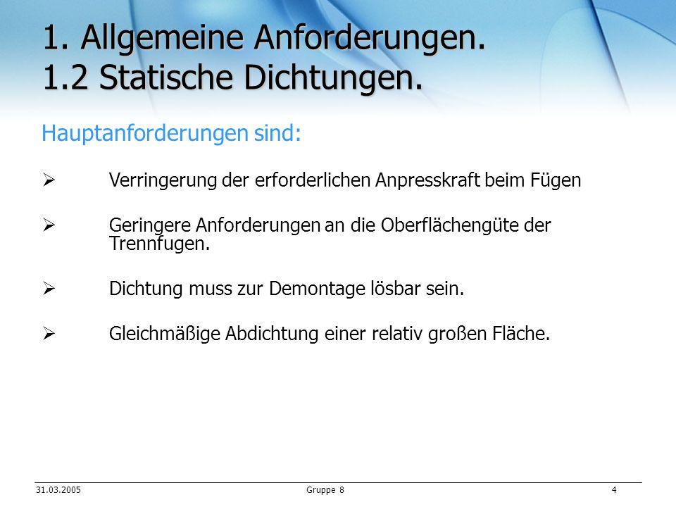 1. Allgemeine Anforderungen. 1.2 Statische Dichtungen.