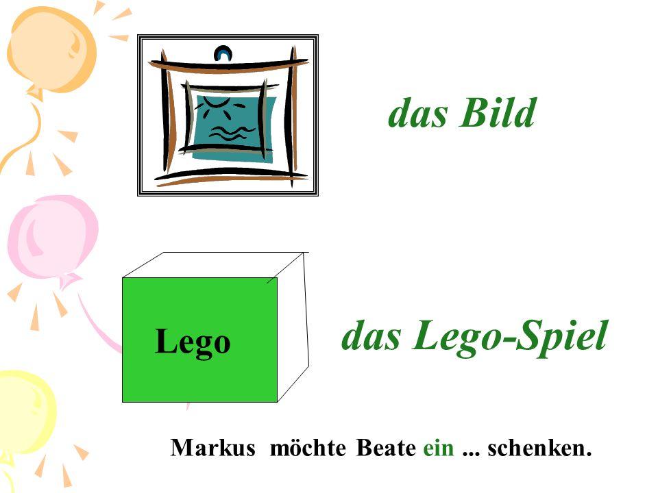 das Bild das Lego-Spiel Lego Markus möchte Beate ein ... schenken.