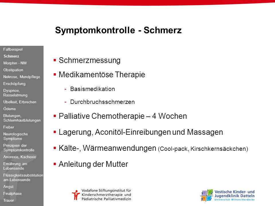 Symptomkontrolle - Schmerz