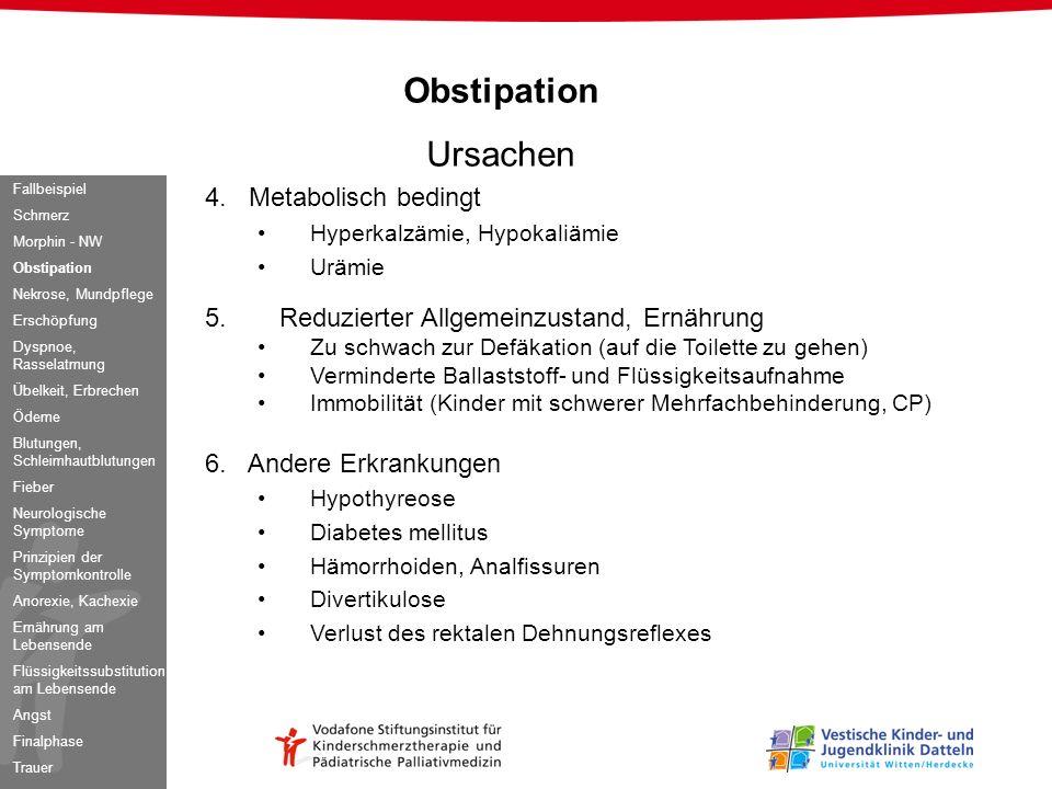 Obstipation Ursachen 4. Metabolisch bedingt