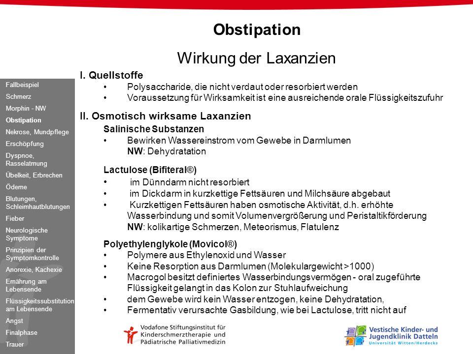 Obstipation Wirkung der Laxanzien I. Quellstoffe