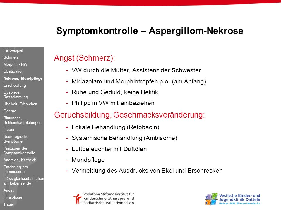 Symptomkontrolle – Aspergillom-Nekrose