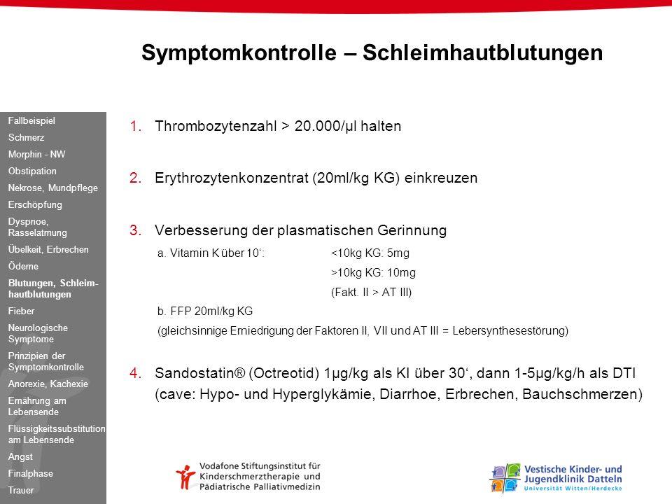 Symptomkontrolle – Schleimhautblutungen
