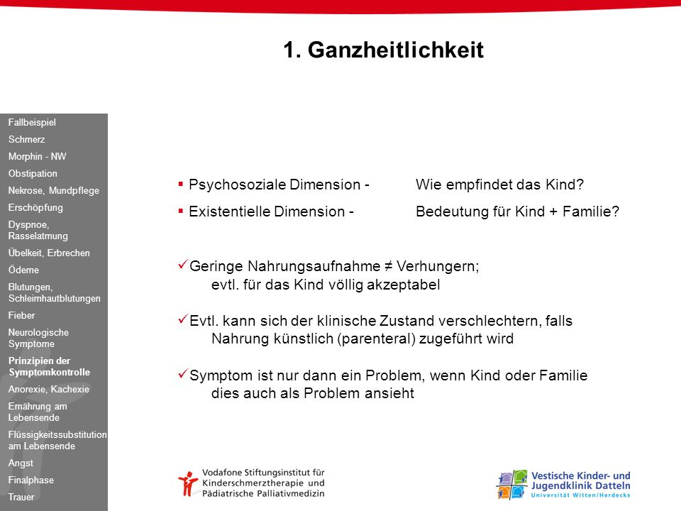 1. Ganzheitlichkeit Psychosoziale Dimension - Wie empfindet das Kind
