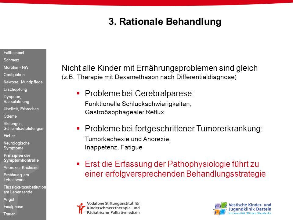 3. Rationale Behandlung Fallbeispiel. Schmerz. Morphin - NW. Obstipation. Nekrose, Mundpflege. Erschöpfung.