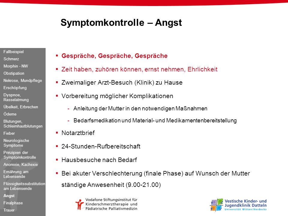 Symptomkontrolle – Angst