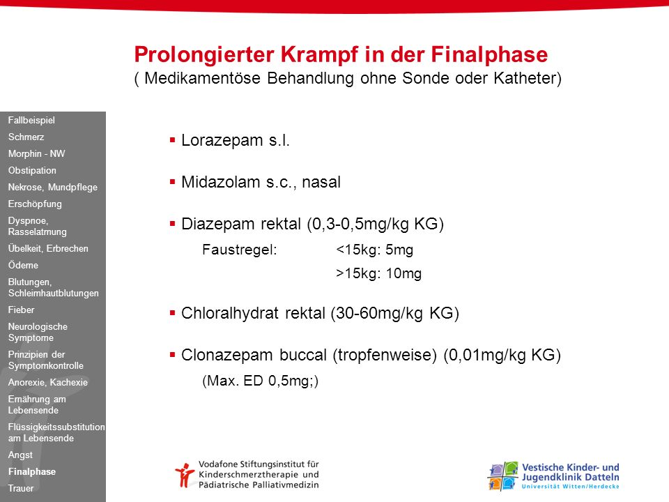 Prolongierter Krampf in der Finalphase ( Medikamentöse Behandlung ohne Sonde oder Katheter)