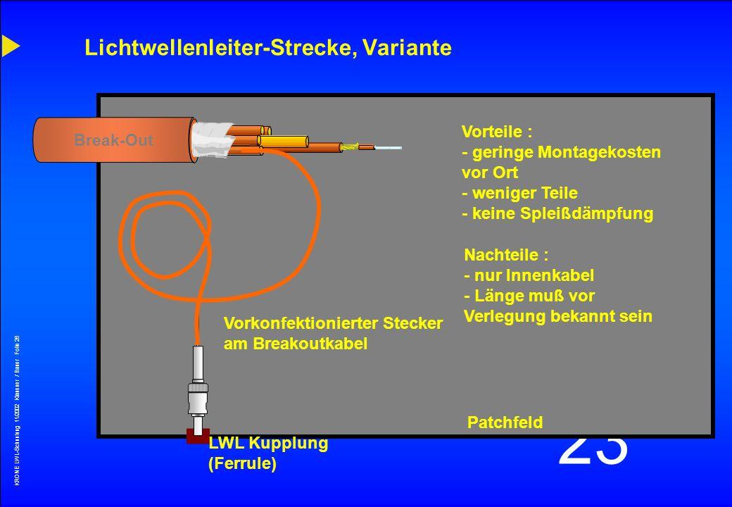 Lichtwellenleiter-Strecke, Variante