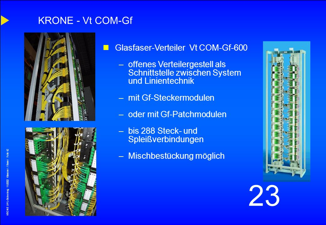 KRONE - Vt COM-Gf Glasfaser-Verteiler Vt COM-Gf-600